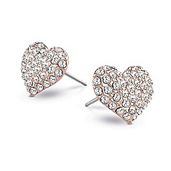 Guess - Rose gold plated stud earrings with crystal detailing