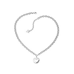 Guess - Rhodium plated heart coin necklace