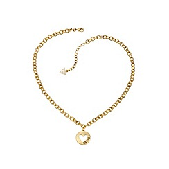 Guess - Gold plated heart coin necklace
