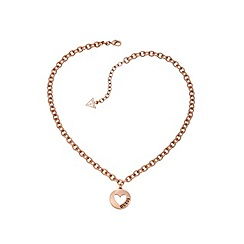 Guess - Rose gold plated heart coin necklace