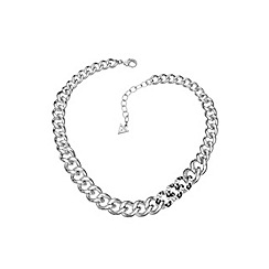Guess - Rhodium plated leopard print small link necklace.
