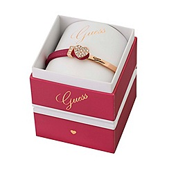 Guess - Rose gold plated and leather bracelet with a sparkling crystal heart