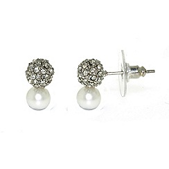 Finesse - White freshwater pearl & cubic zirconia pav  ball earrings