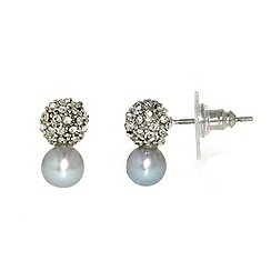 Finesse - Grey freshwater pearl & cubic zirconia pav  ball earrings