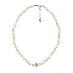 Finesse - White freshwater pearl & cubic zirconia pav  ball necklace