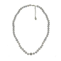 Finesse - Grey freshwater pearl & cubic zirconia pav  ball necklace