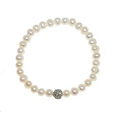 Finesse - White freshwater pearl & cubic zirconia pav  ball bracelet