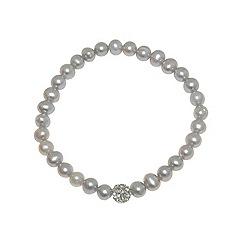 Finesse - Grey freshwater pearl & cubic zirconia pav  ball bracelet