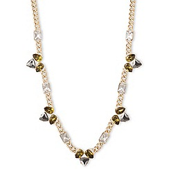 Anne Klein - 42' gold plated stationed necklace with multi-khaki colored stones