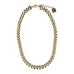 Anne Klein - 16' gold plated lattice pattern collar necklace