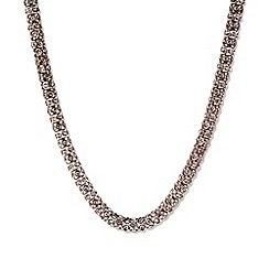Anne Klein - 16' rose gold plated with crystal accents tubular collar necklace