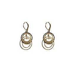 Anne Klein - Gold plated orbital leverback earring