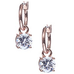 Anne Klein - Rose gold plated with crystal drop hoop earring
