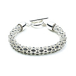 Anne Klein - Silver plated with crystal stones tubular bracelet
