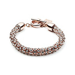 Anne Klein - Rose gold plated with crystal stones tubular bracelet