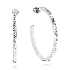 Pilgrim - Silver plated stone hoop earrings