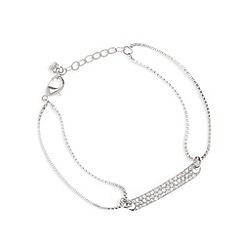 Pilgrim - Silver plated pave bar bracelet