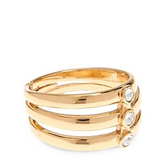 Pilgrim - Gold plated triple stone ring