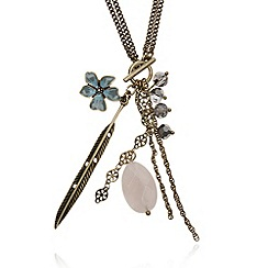 Pilgrim - Gold plated clustered stone and feather pendant 2-in-1 necklace