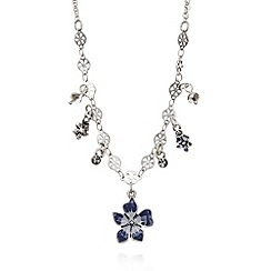 Pilgrim - Silver plated enamel flower short necklace