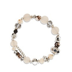 Pilgrim - Silver plated multi beaded stretch bracelet