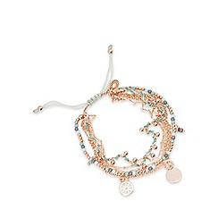 Pilgrim - Rose gold plated enamel discs bead bracelet