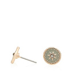 Pilgrim - Rose gold plated enamel disc stud earrings