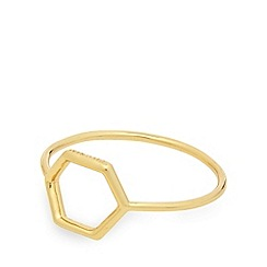 Pilgrim - Gold plated hexagon ring