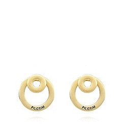 Pilgrim - Gold plated 2-in-1 hoop earrings