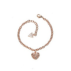 Guess - Rose gold plated bracelet with a heart shaped pendant