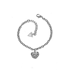 Guess - Rhodium plated bracelet with a 3-D heart shaped pendant