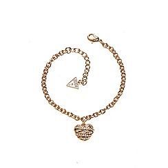 Guess - Gold plated bracelet with a 3-D heart shaped pendant
