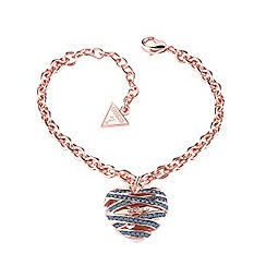 Guess - Rose gold plated bracelet with a blue montana heart shaped pendant