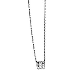 Guess - Rhodium  plated pave bead necklace
