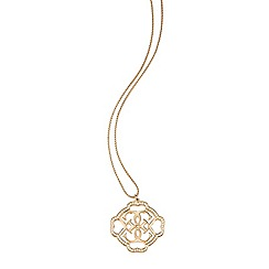 Guess - Gold plated long chain necklace with iconic quattro logo accented with pave crystals