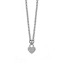 Guess - Rhodium plated bracelet with a heart padlock