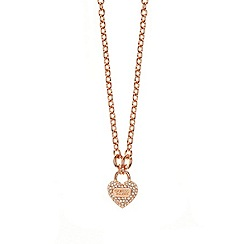 Guess - Rose gold plated bracelet with a heart padlock