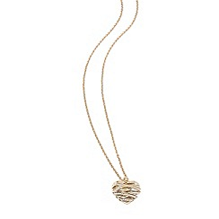 Guess - Gold plated long chain necklace with a large 3-D heart shaped pendant