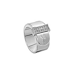 Guess - Rhodium plated ring resembling a belt