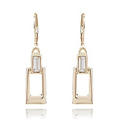 Anne Klein - Gold plated baguette detail drop earrings