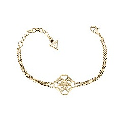 Guess - Gold plated double chain bracelet with aquattro G logo