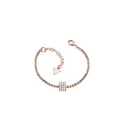 Guess - Rose gold plated bracelet with a single sliding crystal set