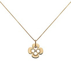 Finesse - Rose gold clover leaf long Swarovski crystal pendant