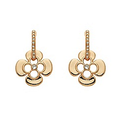 Finesse - Rose gold clover leaf charm Swarovski crystal drop earrings