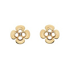 Finesse - Rose gold clover leaf charm Swarovski crystal stud earrings