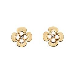Finesse - Rose gold clover leaf charm Swarovski crystal stud earrings