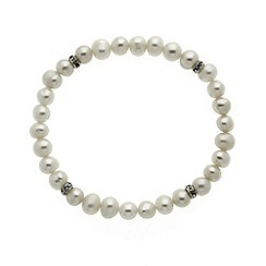 Finesse - White freshwater pearl and CZ rondel stretch bracelet
