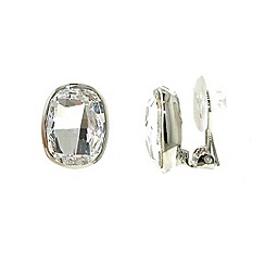Finesse - Silver Swarovski crystal oval faceted clip earrings