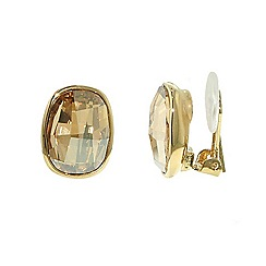 Finesse - Gold Swarovski crystal oval faceted clip earrings