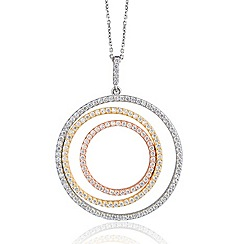 Ingenious - Sterling silver necklace with three colour gold plated large open pave circles pendant